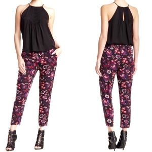 Joie Theron black silk floral ankle length pants